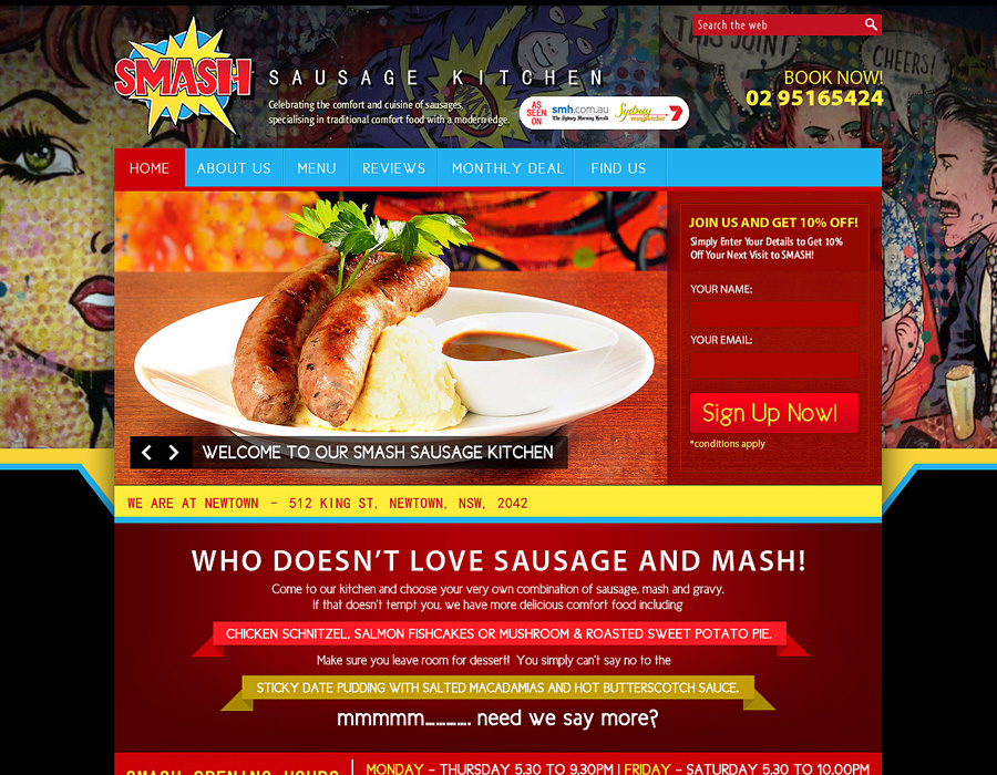 Smash Sausage Kitchen | Website Design | Flyer Design